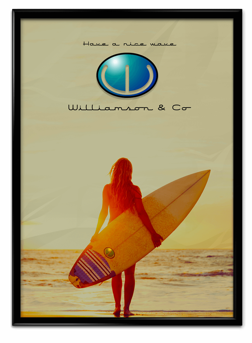 Poster for Williamson and Co surfboards